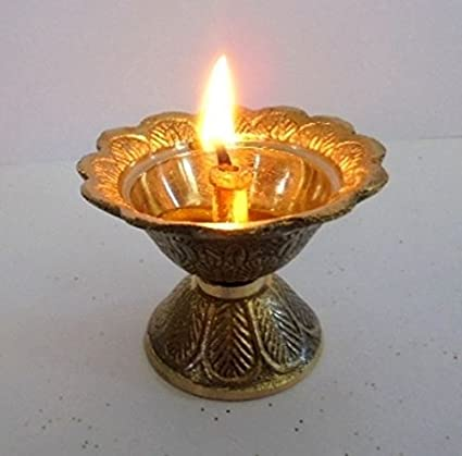 Artcollectibles Inde Laiton Diya Deepak Akhand Jyot Kouber Temple