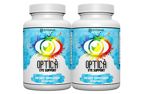 Optica - Complete Natural Eye Vitamin and Vision Supplement - Reduces Eye Strain, Fatigue, and Macular Degeneration - For Eye Health & Retinal Tissue with AREDS 2 Based Lutein, Zeaxanthin, Cysteine. by Dinosaur Nutrition