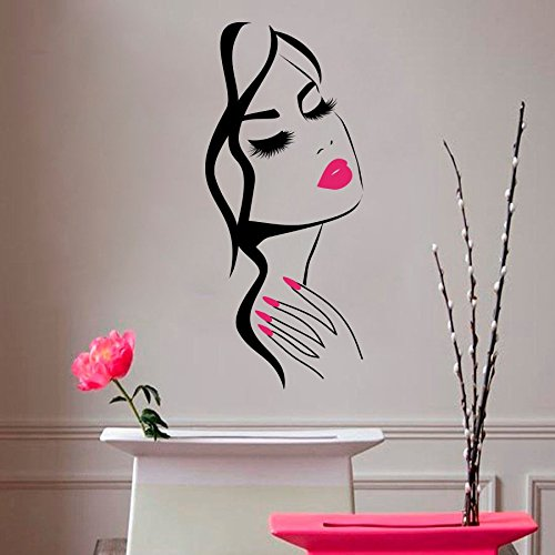 Wall Decal Beauty Salon Manicure Nail Salon Wall Art Sticker Beautiful Girl Face Lips Home Decor Stickers Barber Shop Hairstyle Decoration Wall Mural M-73 (Black +Pink Lips, -