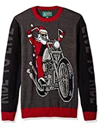 Ugly Christmas Sweater Company - Sudadera para Hombre, diseño de Santa-Live to Ride, Negro, Medium