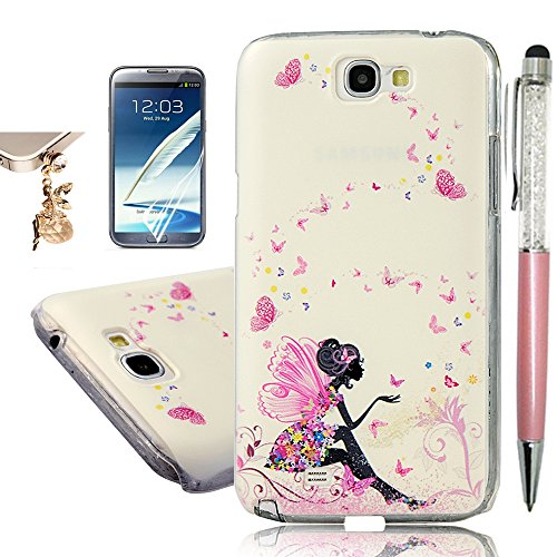 Note 2 Case,Galaxy Note 2 Case - YOKIRIN Print Painted Butterfly Fairy PC Case Hard Cover for Samsung Galaxy Note 2 N7100(Package Includes: One Phone Cases, One Screen Protector, One Stylus Pen, One Dust Plug) (Samsung Note 2 Cases For Women compare prices)