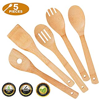 Hossejoy Kitchen Cooking Utensils Set, 5 Pcs Bamboo Spoons & Spatula Tools for Nonstick Cookware and Wok, with 1 Utensil Holder Organizer, Great Gift For Chefs & Foodies