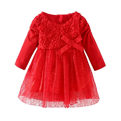 LittleSpring Baby Girls Dresses Flowers Princess Size 3M Red