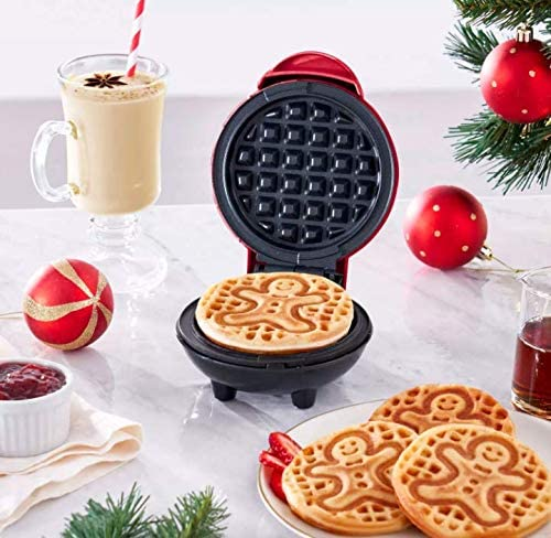 Dash Gingerbread Man Mini Waffle Maker Christmas Holiday Red New In Box