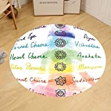 Gzhihine Custom round floor mat Decor Brushstroke Inspired Lotus Pose Spots in the Body Faith and Harmony Icon Bedroom Living Room Dorm Multi