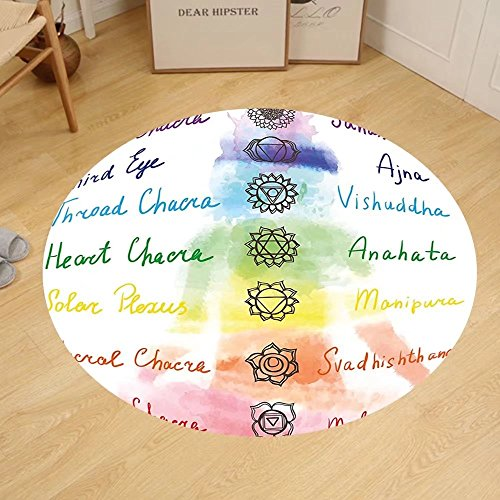 Gzhihine Custom round floor mat Decor Brushstroke Inspired Lotus Pose Spots in the Body Faith and Harmony Icon Bedroom Living Room Dorm Multi by Gzhihine