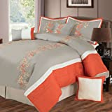 Bedford Home Branches 7-Piece Embroidered Comforter Set, Queen