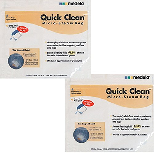 Medela Quick Clean Micro-Steam Bags, 2 Packs of 5 bags (Bag Quick)