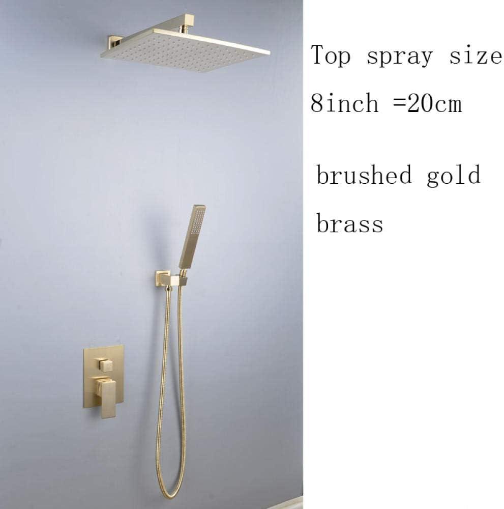 Verdeckte Verdeckte Duschen in Wand Messing Duscharmatur Gold mit rotierendem Kalt und Warmwasserhahn im European Hotel New-A12 geb/ürstet