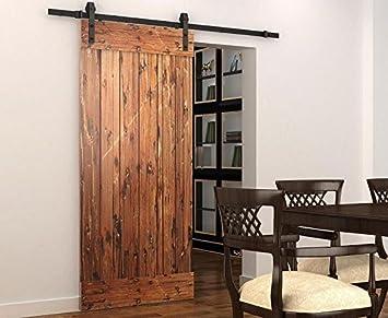diyhd 6.4 Ft rústico negro puerta corrediza de granero madera ...