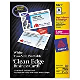 Avery - Two-Side Printable Clean Edge Business Cards Laser 2 X 3-1/2 White 1000/Box ''Product Category: Paper & Printable Media/Cards & Card Stock''