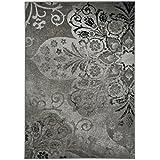 Capel Kevin Ou0027Brien Cavalcade Venetian Floral Pattern Fog Grey  Machine Woven Olefin Rug (5u00273 X 7u00276)