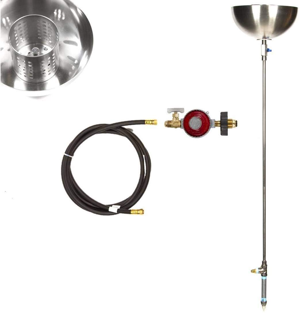 Portable Marine Grade 316 Stainless Steel DIY Propane Gas Tiki Torches (72' Ground Push In Complete Torch w/ Bowls)