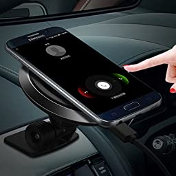 Car Wireless Charger, Phone Mount & Wireless Charging Pad Transmitter in one unit, One hand & One sec Dashboard Holder, Compatible For Samsung S7/S6/Edge/Note5,Nexus 5/6/7 & Other Qi Enable Device.