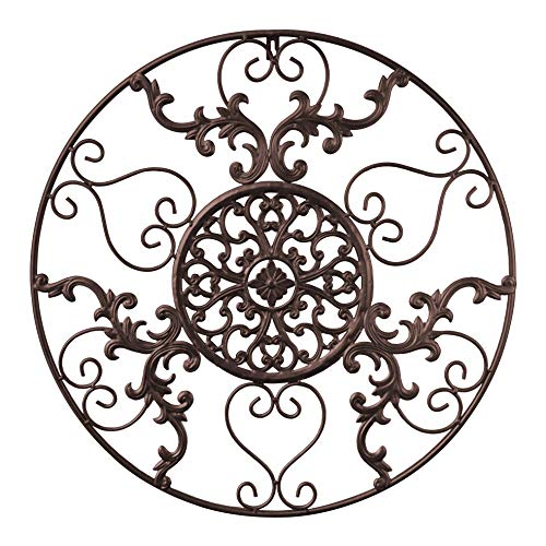 GB HOME COLLECTION Metal Wall Decor, Decorative Victorian Style Hanging Art, Steel Decor, Circular Medallion Design, 23.5 x 23.5 Inches, Espresso Brown Circle (Wall Metal Decors)