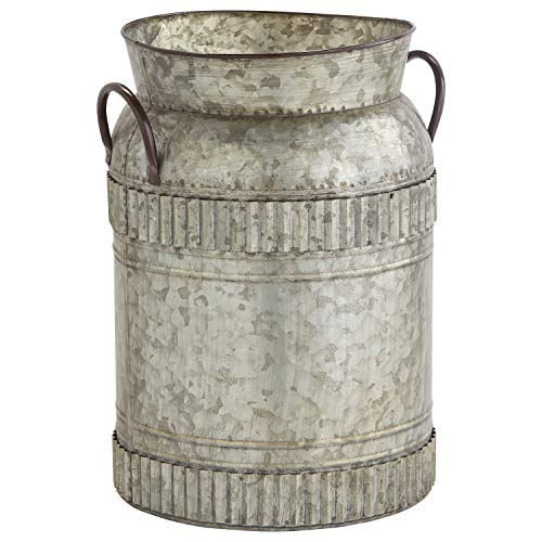 Stone Beam Vintage Metal Milk Planter, 14.6 H, Galvanized