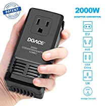 DOACE 2000W Power Transformer, Travel Adapter and Converter Combo, Set Down 220V to 110V for Hair Dryer, with International EU/UK/AU/US Adapter Plugs for Over 150 Countries(Patent Protected)