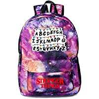 Stranger things peripheral schoolbag canvas bag star sky double shoulder bag men's and women's leisure bag (Star purple-1)