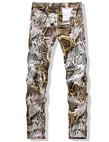 Krralinlin Men's Snakeskin Printed Slim Fit Skinny Jeans Casual Pencil Pants (Snake Designer Belt)