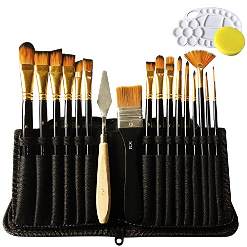 Paint Brushes 19 Pieces Set,Professional Artist Acrylic Paint Brush for Acrylic Watercolor Oil Gouache Painting by Lasten -