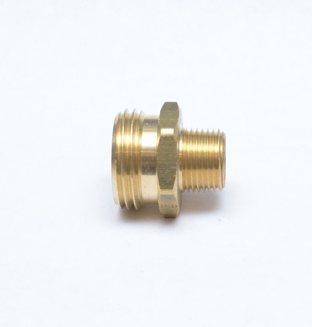 """FASPARTS 1/2"""" Male NPT MPT MIP to 3/4"""" Male GHT Garden Hose Thread Adapter Brass Fitting Fuel/Air/Water/Boat/Gas/Oil WOG House/Boat/Lawn/Power Wash/Irrigation"""