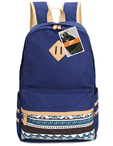 leaper-casual-lightweight-canvas-laptop-bag-cute-school-backpack-travel-bag-large-navy-blue