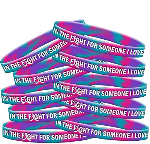 (in The Fight for Someone I Love Thyroid Cancer Wristband Bracelet 10-Pack (Teal, Purple, Pink))