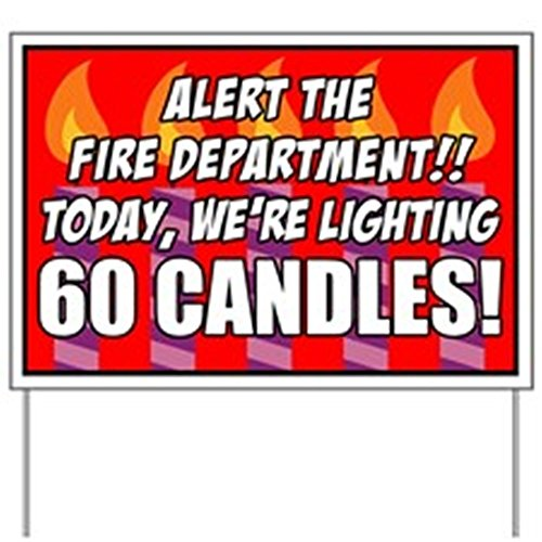 CafePress - 60 Candles Fire Department Yard Sign - Yard Sign