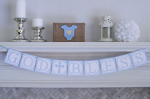 Swanky Party Box Blue God Bless Baptism Christening First Holy Communion Banner ()