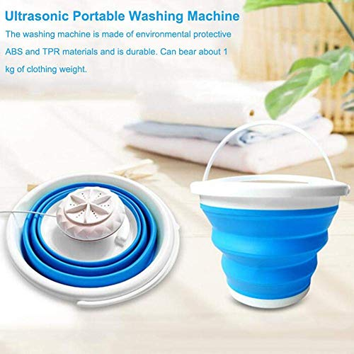 Mini Washing Machine With Foldable Tub Portable Personal Rotating Ultrasonic Turbines Washer USB Convenient Laundry for Travel Home Business Trip (Blue)