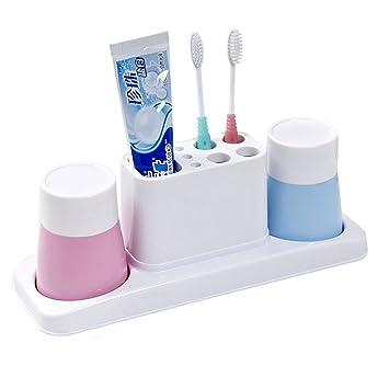 XXGI Creativo Baño Titular De Cepillo De Dientes Cepillo De Dientes Taza De Color Sólido Pareja Lavado Estante Baño (30 * 10 * 11 Cm): Amazon.es: Hogar