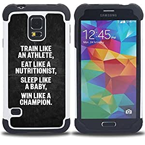 - athlete nutritionist champion poster - - Doble capa caja de la armadura Defender FOR Samsung Galaxy S5 I9600 G9009 G9008V RetroCandy