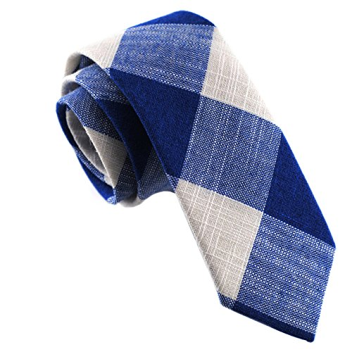- Casual Skinny Cotton Necktie Plaid Slim Ties 2(1/2) :Blue/White TC018