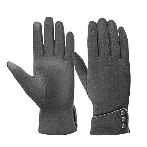 TONLION Womens TouchScreen Gloves Winter Gloves Warm Windproof Mittens Gray