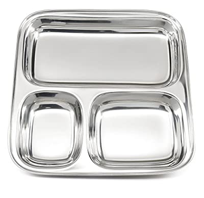 Lifestyle Block Reusable Stainless Steel Divided Plate: 3 Section Square Mess Tray