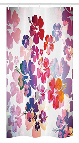 Ambesonne Hawaiian Stall Shower Curtain, Exotic Floral Island Theme Tropical Hawaii Flowers Pattern Print, Fabric Bathroom Decor Set with Hooks, 36 W x 72 L Inches, Purple Pale Pink and Orange by Ambesonne