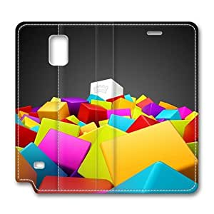 3D Colorful Squares Samsung Galaxy Note 4 Flip Leather Case Cover