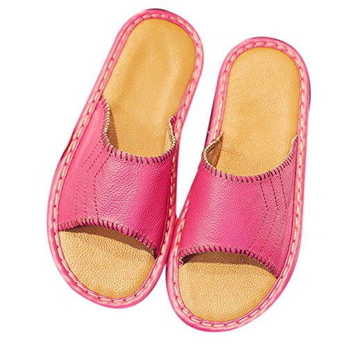 Cowhide Women Wooden Men TELLW Slippers Rose Anti Summer Corium Floor Autumn W Leather Spring for Smelly 8xIOqxU
