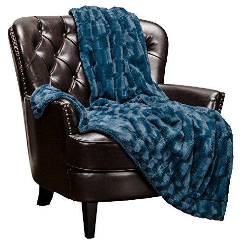 Chanasya Super Soft Fuzzy Faux Fur Elegant Rectangular Embossed Throw Blanket   Fluffy Plush Sherpa Cozy Microfiber Blue Blanket for Bed Couch Living Room Fall Winter Spring (50 x 65) - Blue