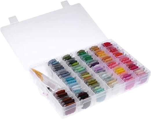 SUPVOX 8m hilo de bordar con organizador caja 96 hilos de bordar ...