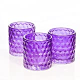 Richland Purple Chunky Honeycomb Glass Votive & Tealight Candle Holder Set of 12