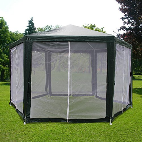 Quictent 6.6'x6.6'x6.6' Canopy Outdoor Hexagon Party Tent Gazebo Sun Shade Shelter Screen House with Fully Enclosed Mesh Side Wall Green