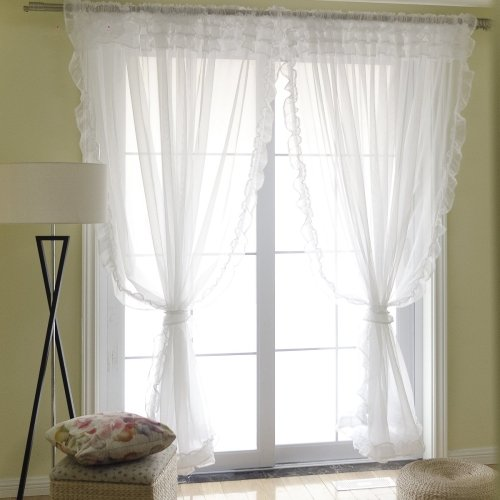 Dreaming Casa Semi Sheer Curtain Scallop Edge Sweety Style Voile Drape 96 Inches Long Window Treatment 84'' W x 96'' L (2 Panels)/White by Dreaming Casa