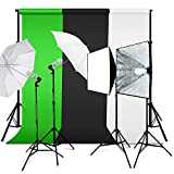 Photo Vedio Studio Continuous Lighting Lighting Kit, with Softbox and Umbrella, 7.5 x 5 Feet Backdrop Stand Support System and Black/white/Green Muslin Backdrops, JSAG442