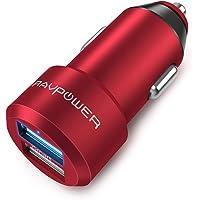 RAVPower Cargador de Coche 24W 4.8A Dual USB Adaptador Automóvil con Tecnología iSmart Funda de Material de Aluminio para iPhone iPad Samsung Galaxy LG Nexus – Rojo