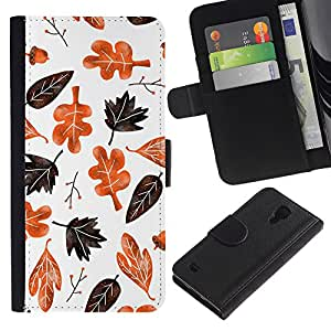 iBinBang / Flip Funda de Cuero Case Cover - La caída del otoño Modelo blanco de Brown - Samsung Galaxy S4 IV I9500