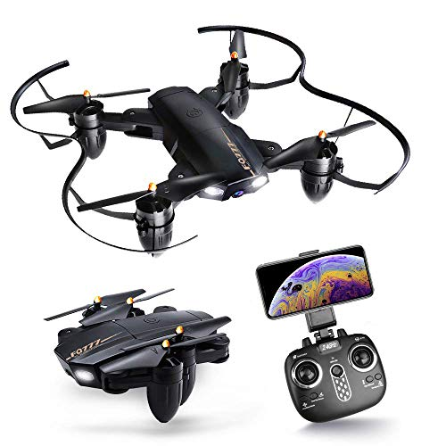 Drone with Camera, Posiveek Foldable Arms RC Helicopter with HD Live Video Wifi Camera 2.4GHz 6-Axis Gyro Quadcopter Altitude Hold, Headless Mode,One Key Return Easy Operation Drones for Kids & Beginn