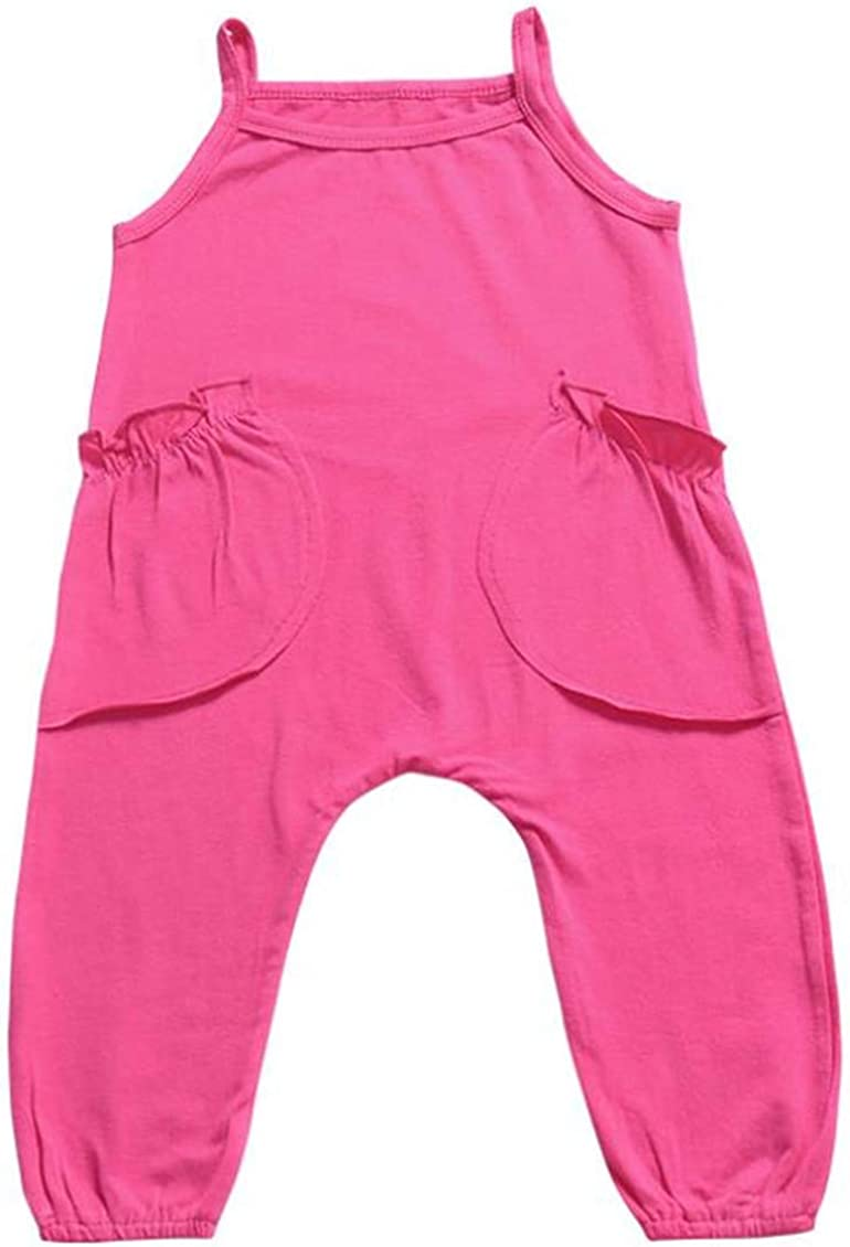 LOOLY Baby Girls Cotton Suspender Romper Jumpsuit with Two Big Pocket