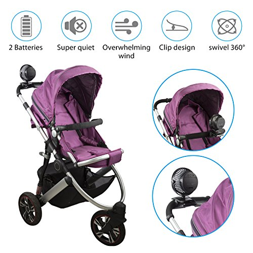 COMLIFE 5200mAh Battery Operated Clip On Fan, Quiet Stroller Fan, Mosquito-Repellent/Aroma Diffuser Function, 4 Speeds, 360 Degree Rotation, Powerful Airflow for Camping, Office, Car