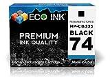 ECO INK © Compatible / Remanufactured for HP 74 CB335WN (1 Black) Ink Cartridges for Photosmart C4210, C4340, C4480, C5273, C4235, C4342, C4494, C5275, C4240, C4343, C4524, C5280, C4250, C4344, C4540, C5283, C4270, C4345, C4550, C5288, C4272, C4380, C4575